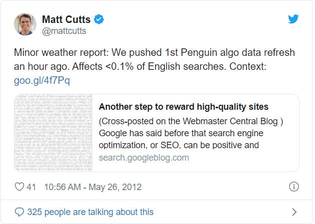 matt cutts qui parle de la mise a jour penguin sur twitter