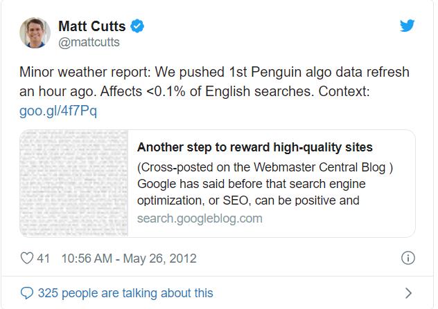 matt cutts qui parle de la mise a jour sur twitter